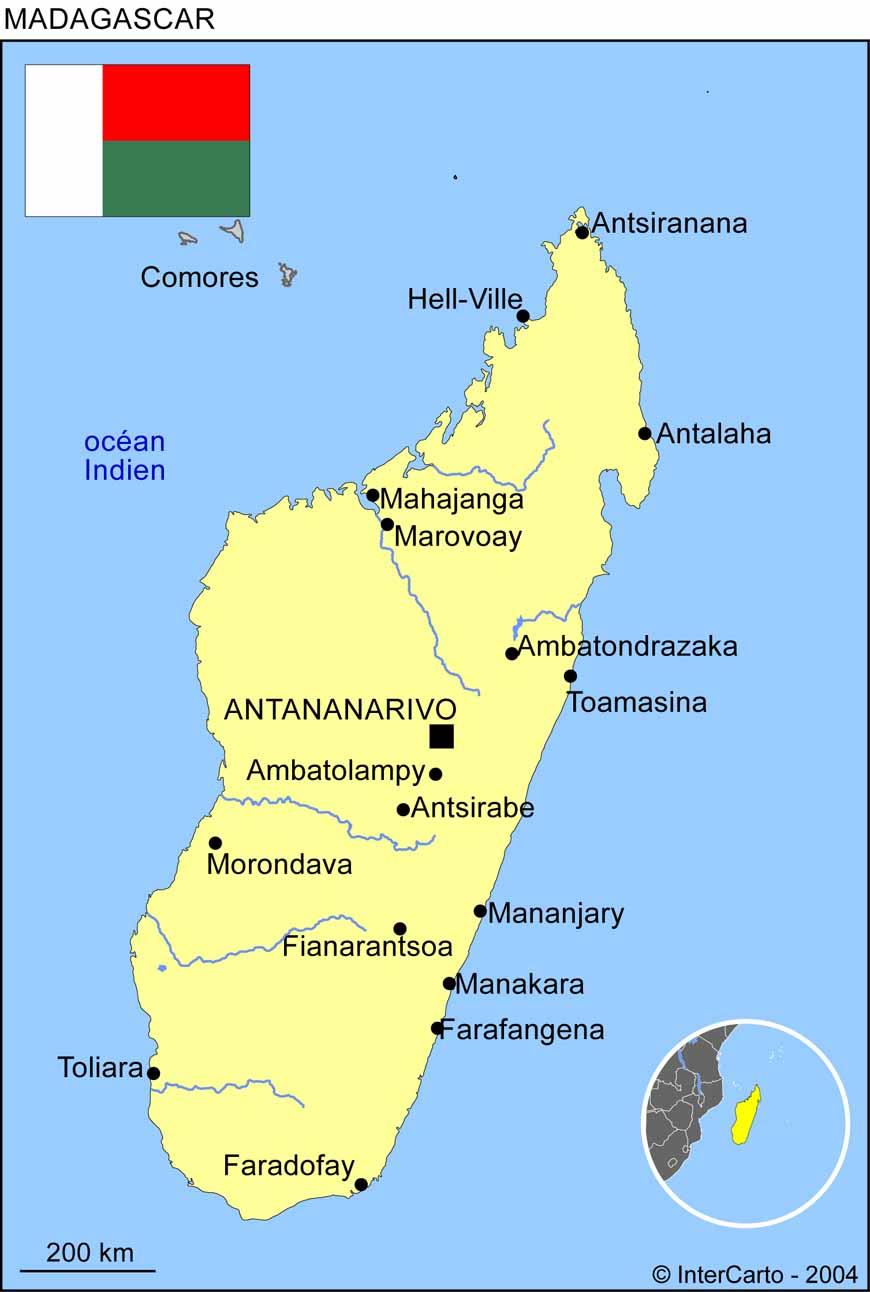 Carte géographique et touristique de Madagascar, Antananarivo. Géographie de Madagascar