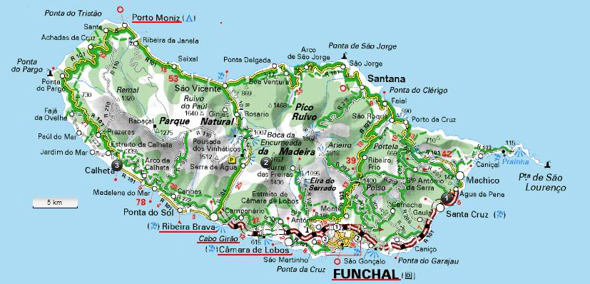 Carte g ographique et touristique de mad re funchal g ographie de mad re - Ile d oleron que faire ...