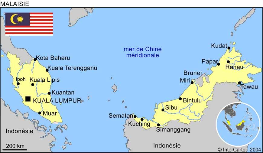 Carte géographique et touristique de la Malaisie, Kuala Lumpur