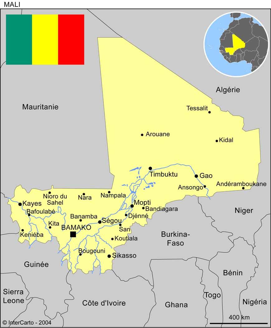 Carte géographique et touristique du Mali, Bamako. Géographie du Mali