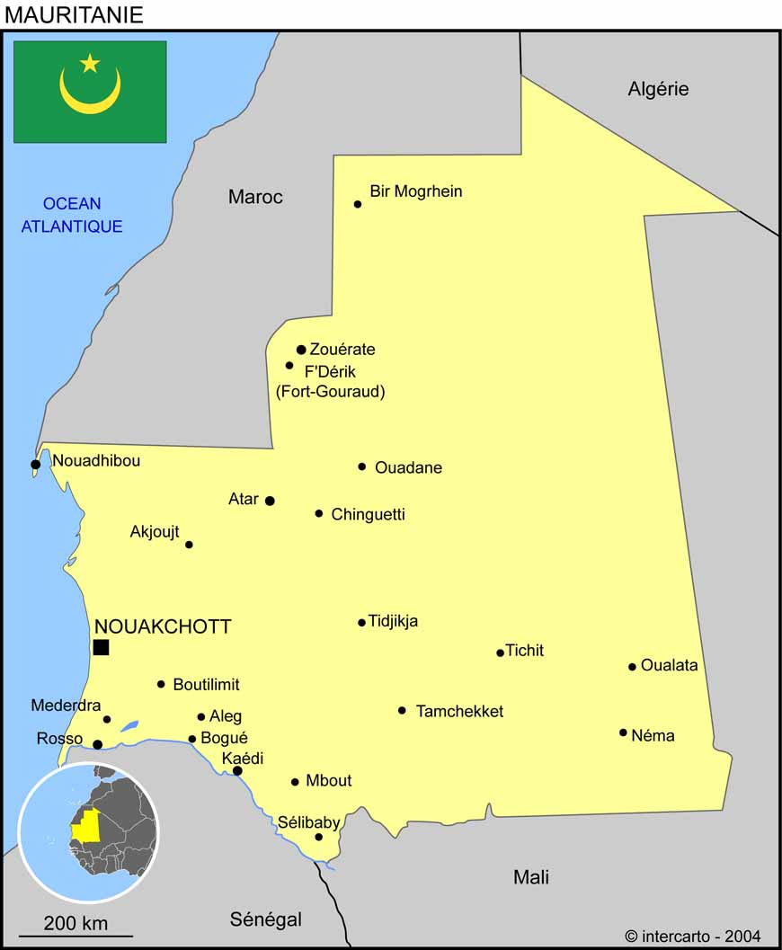 Carte Algerie Mauritanie.Carte Geographique Et Touristique De La Mauritanie