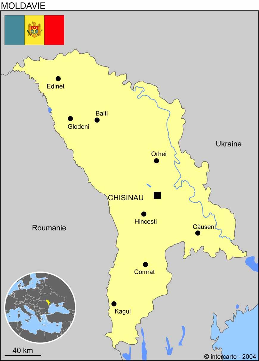 Carte géographique et touristique de la Moldavie, Chisinau