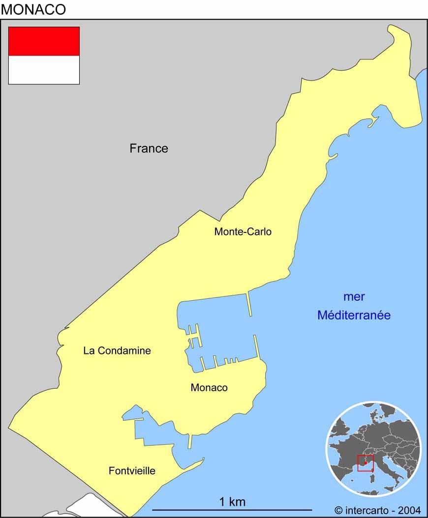 Carte géographique et touristique de Monaco, Monaco. Géographie de