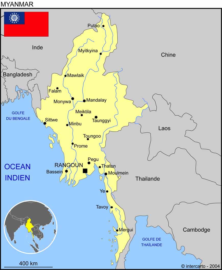carte de la birmanie Carte géographique et touristique du Myanmar (Birmanie), Rangoon