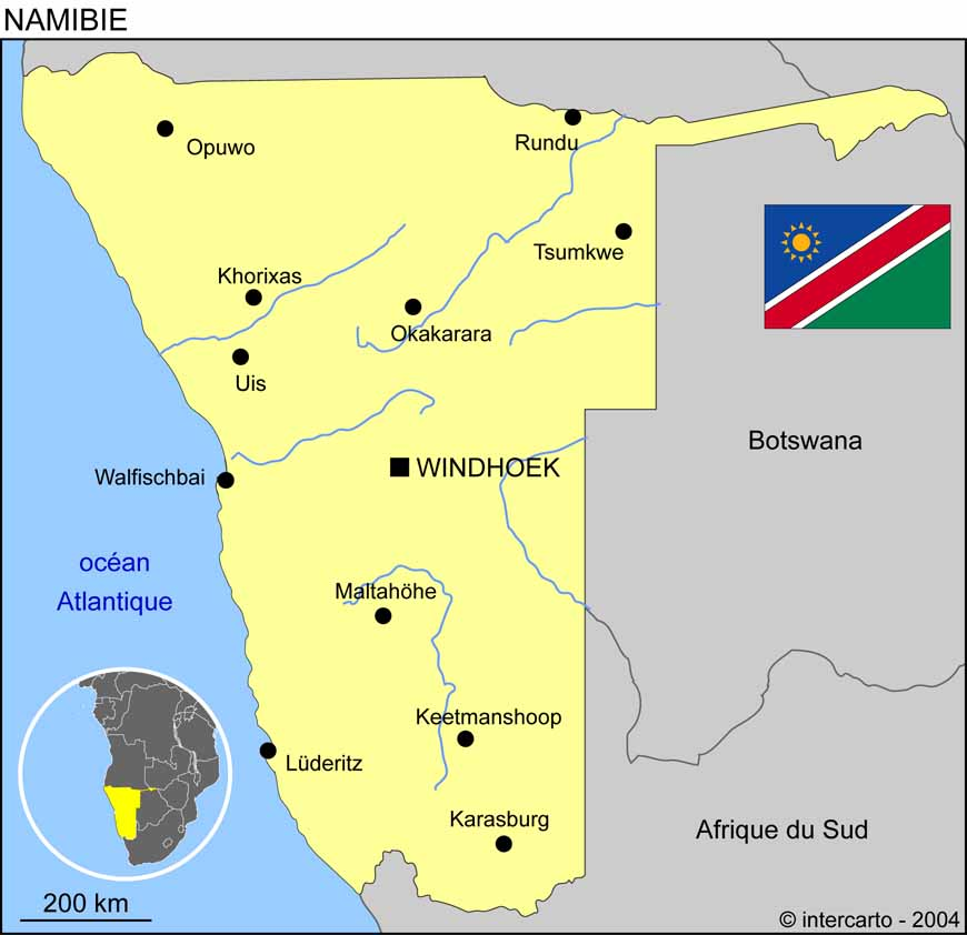 Carte géographique et touristique de la Namibie, Windhoek