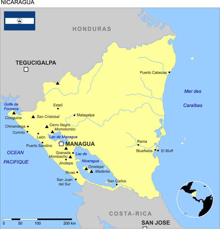 nicaragua sur la carte du monde. Black Bedroom Furniture Sets. Home Design Ideas
