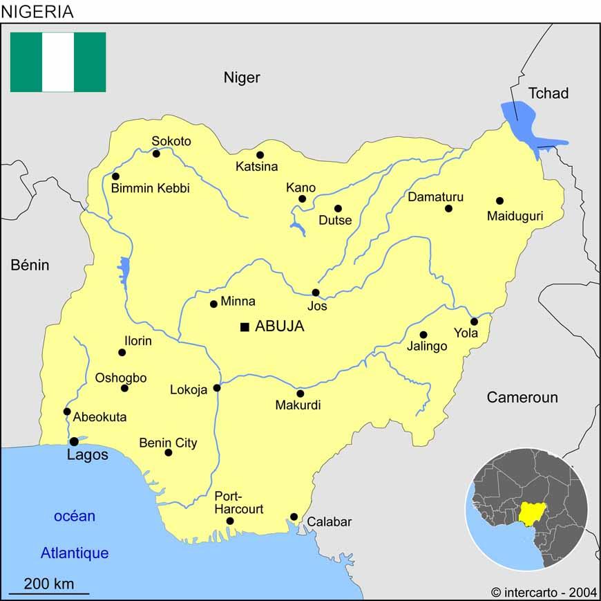 Nigeria Ville Carte