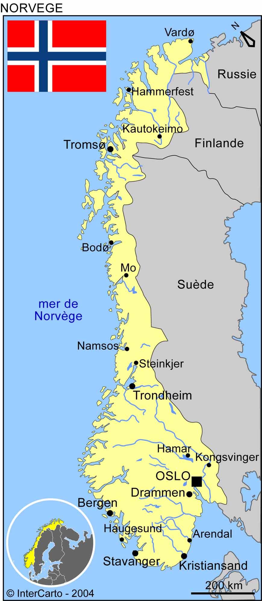 Carte géographique et touristique de la Norvège, Oslo. Géographie