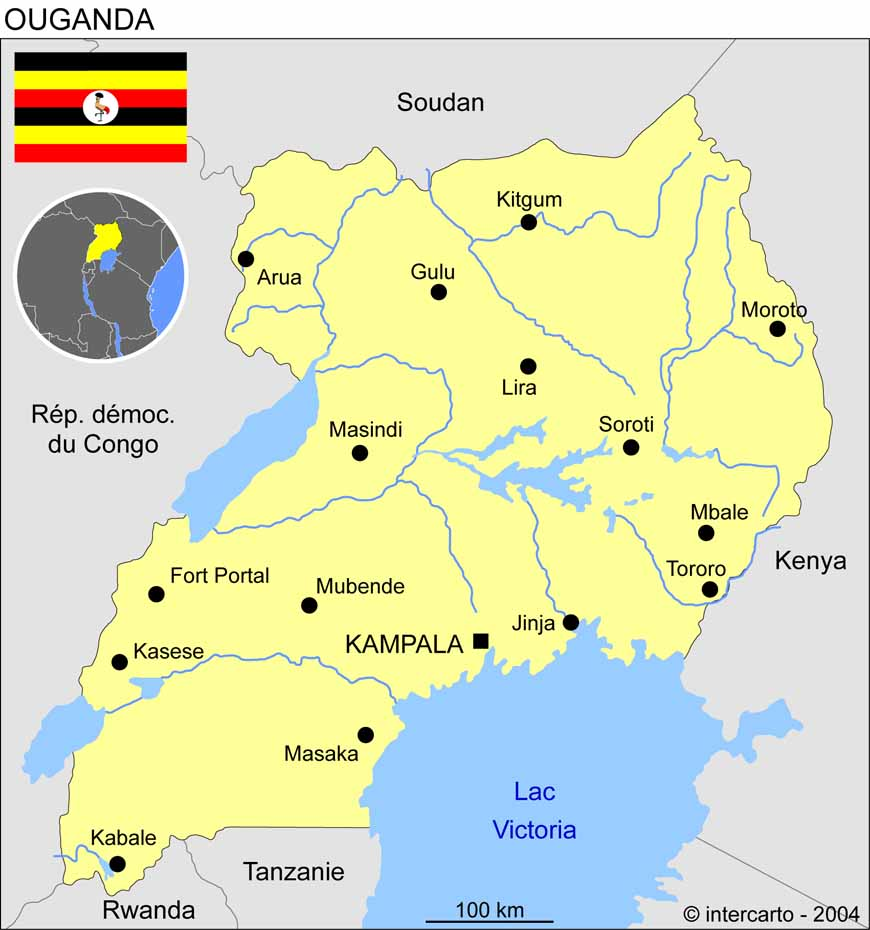 Carte géographique et touristique de l'Ouganda, Kampala