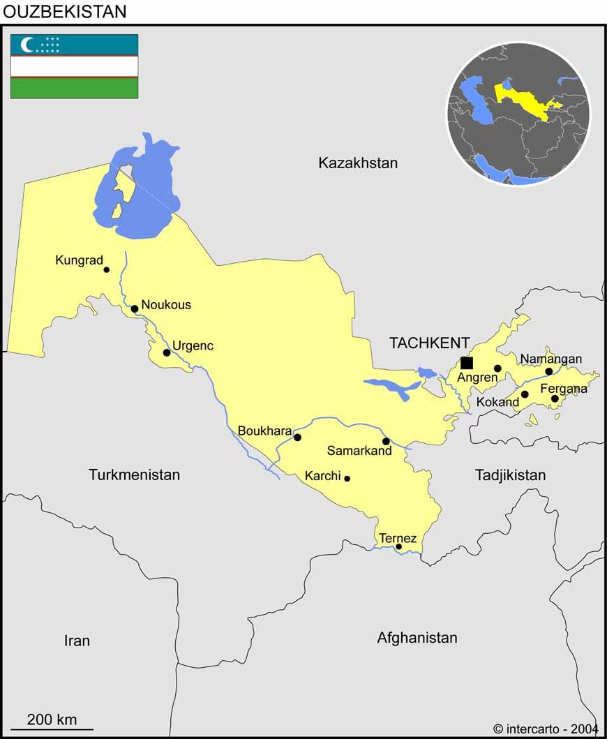 Carte géographique et touristique de l'Ouzbékistan, Tachkent