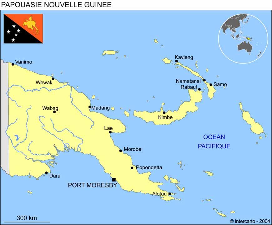 Carte géographique et touristique de la Papouasie Nouvelle Guinée