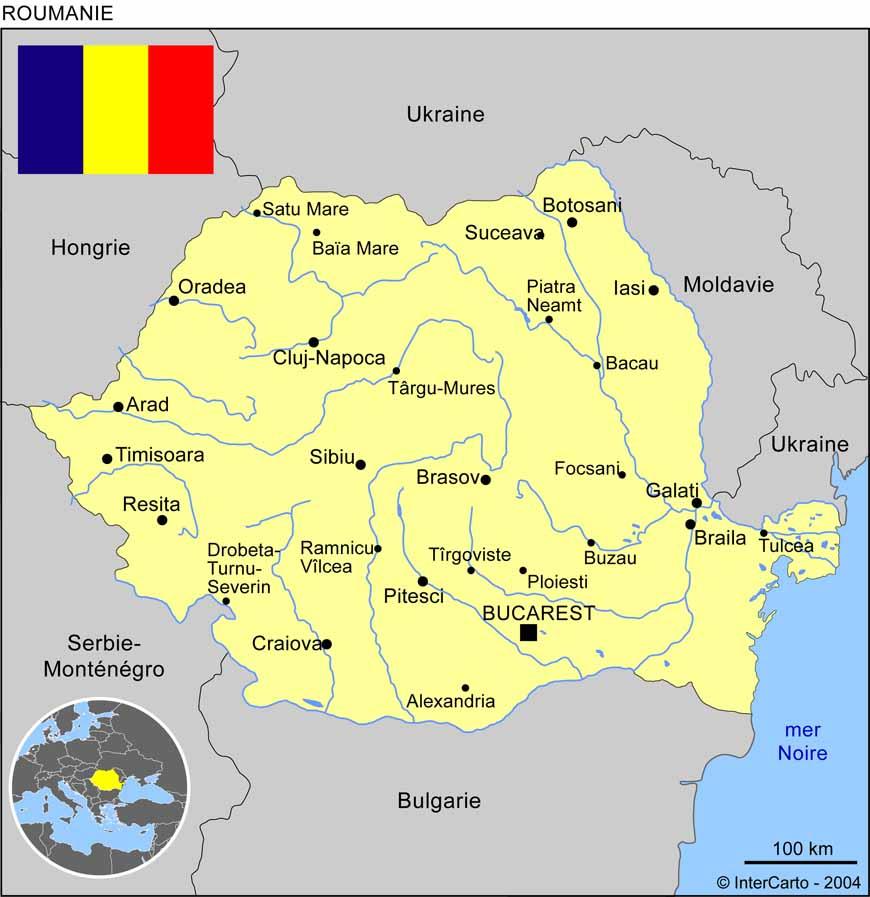 Carte géographique et touristique de la Roumanie, Bucarest