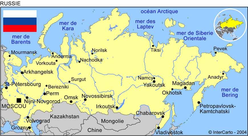 Carte géographique et touristique de la Russie, Moscou. Géographie