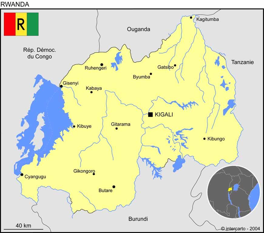 Carte géographique et touristique du Rwanda, Kigali. Géographie du