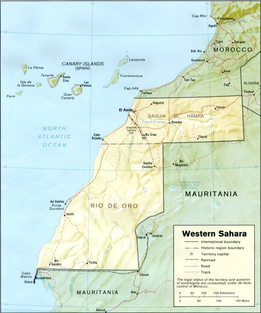 Carte géographique et touristique du Sahara Occidental, El Aiun