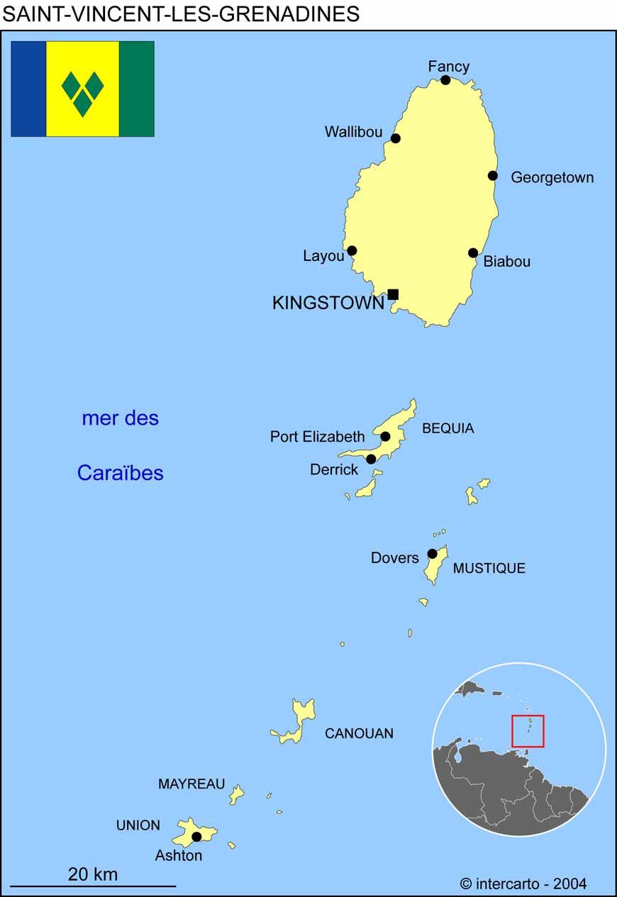 Carte géographique et touristique de Saint Vincent et les
