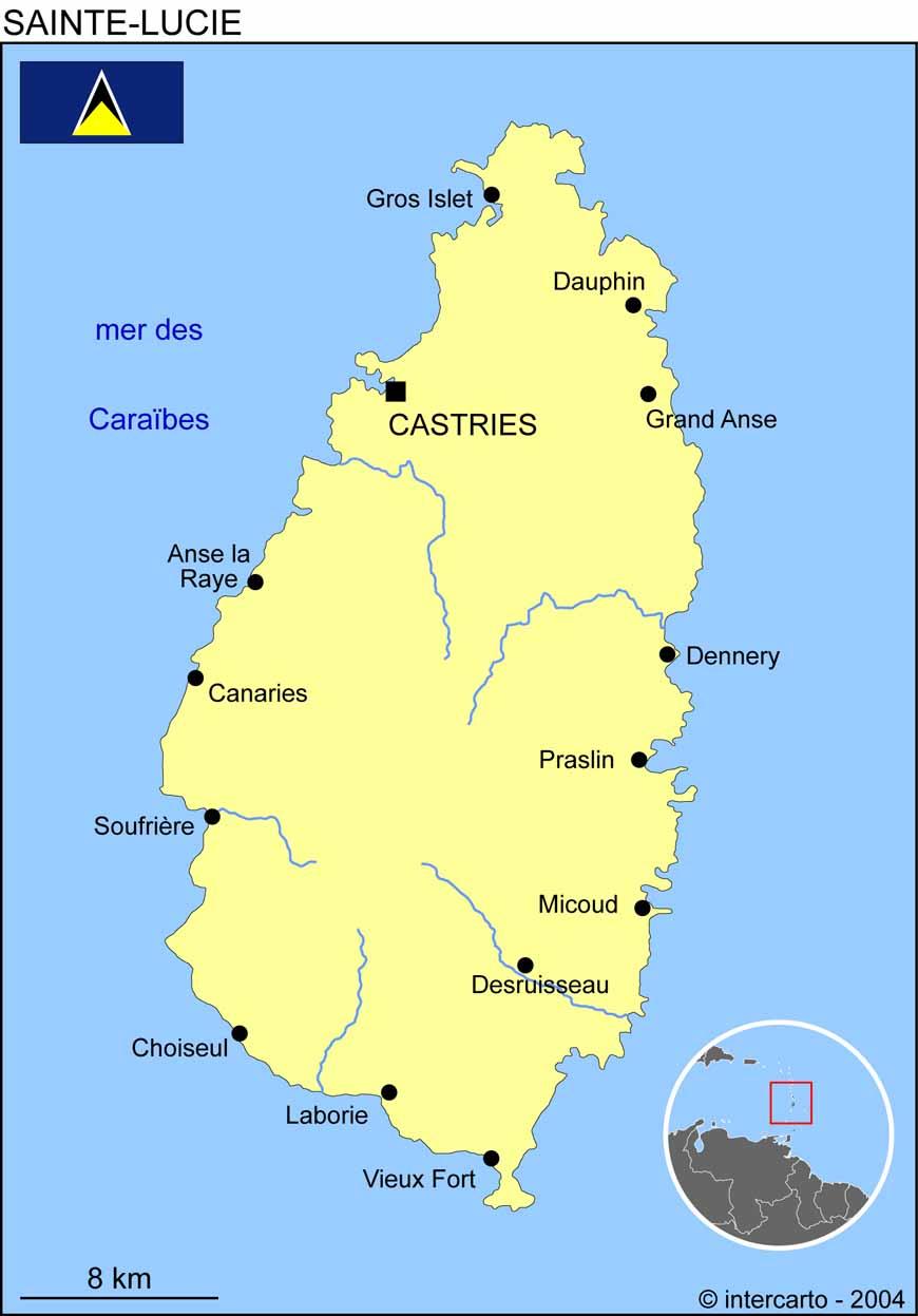 Carte géographique et touristique de Sainte Lucie, Castries