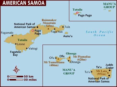 Carte géographique et touristique des Samoa Américaines, Apia