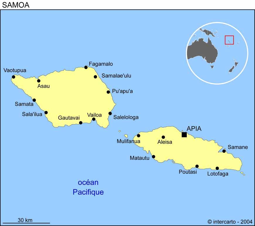Carte géographique et touristique des Samoa, Apia. Géographie des