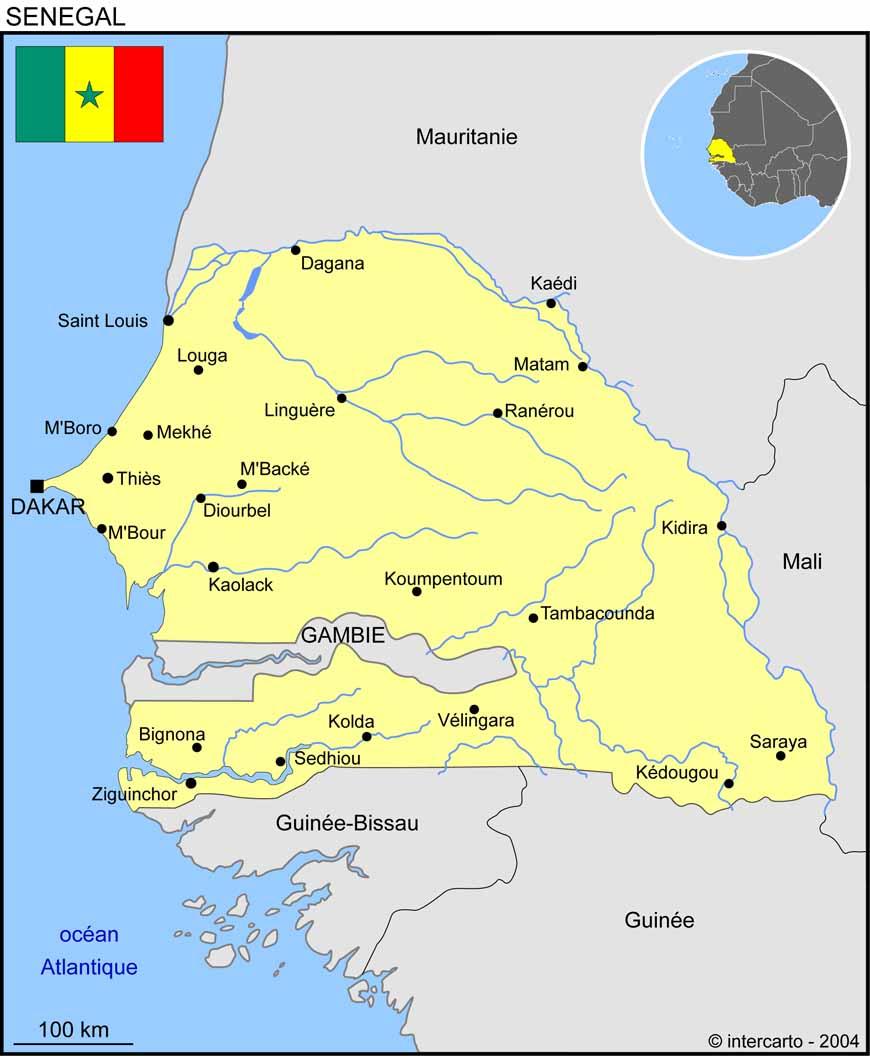 Carte géographique et touristique du Sénégal, Dakar. Géographie du