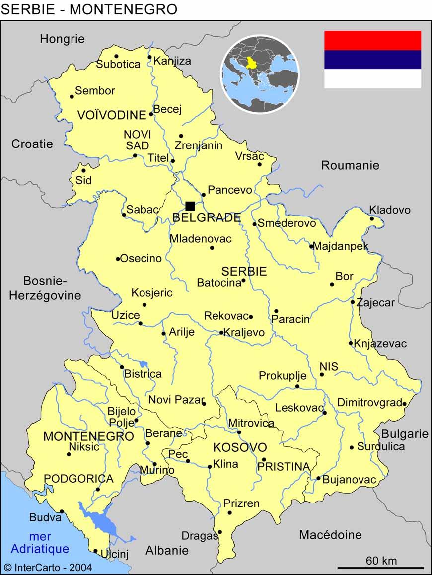 Carte géographique et touristique de la Serbie, Belgrade