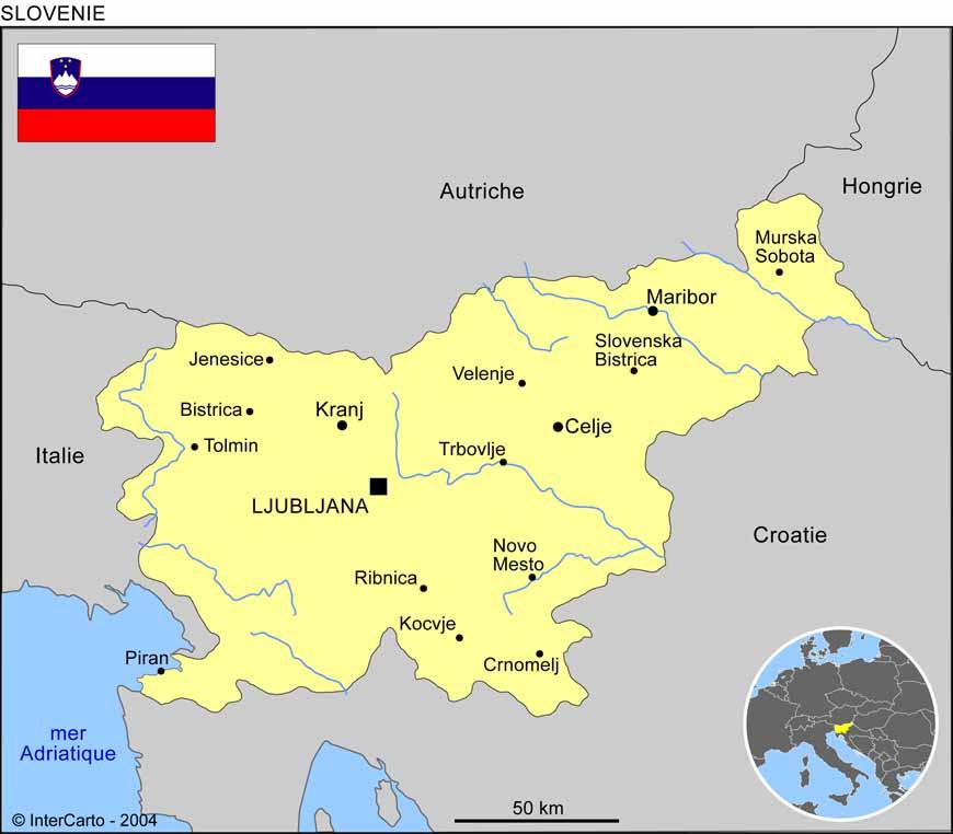 Carte géographique et touristique de la Slovénie, Ljubljana