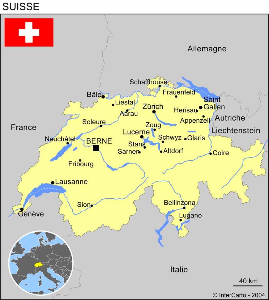Carte géographique et touristique de la suisse - vue satellite de la