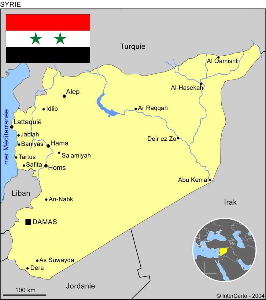 Carte géographique et touristique de la Syrie, Damas. Géographie