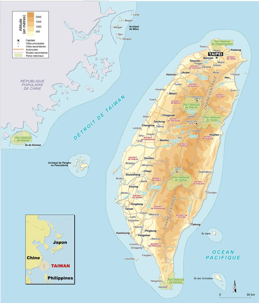 Carte géographique et touristique de Taiwan, Taipei. Géographie de