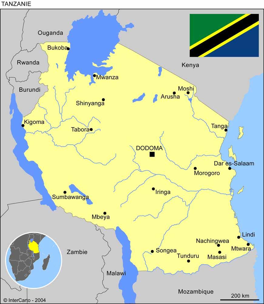 Carte géographique et touristique de la Tanzanie, Dodoma