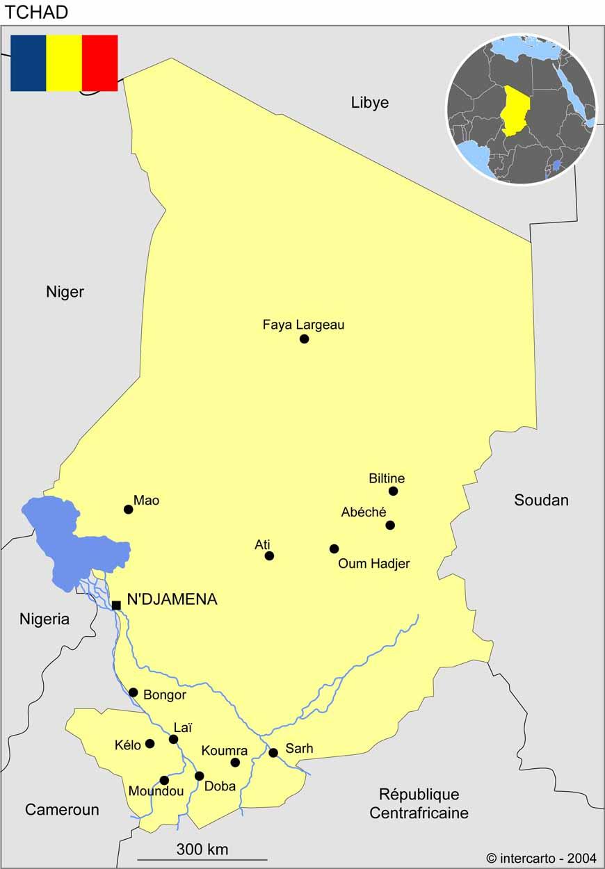 Bien-aimé Carte géographique et touristique du Tchad, N'Djamena. Géographie  OE01