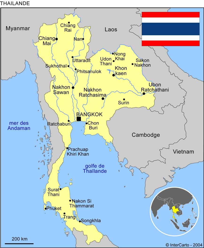 Carte Thailande Centre.Carte Geographique Et Touristique De La Thailande Bangkok