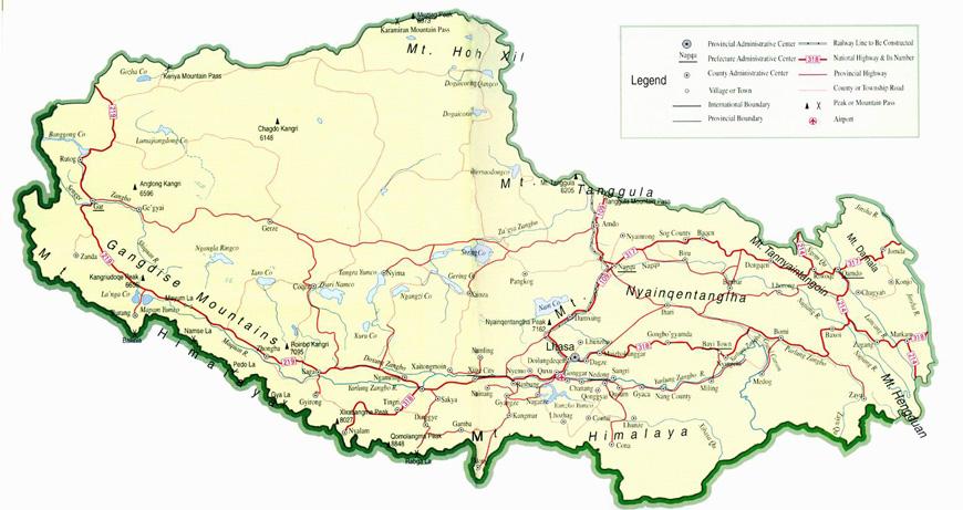 Carte Chine Et Tibet.Carte Geographique Et Touristique Du Tibet Lhassa