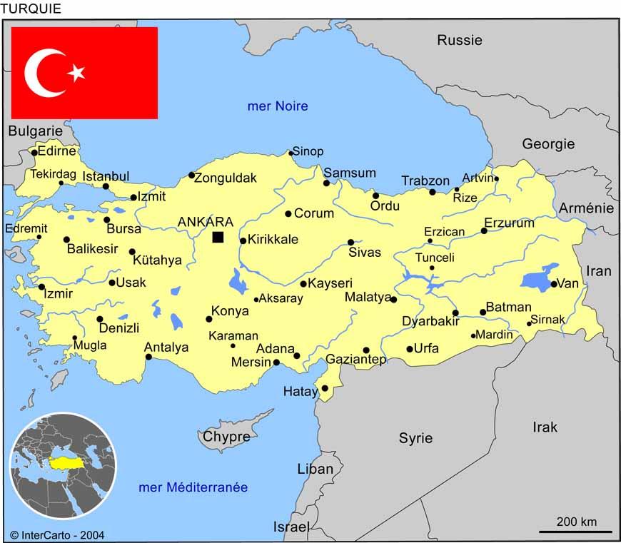 Carte géographique et touristique de la Turquie, Ankara