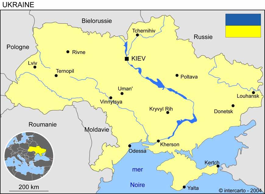 Carte géographique et touristique de l'Ukraine, Kiev. Géographie