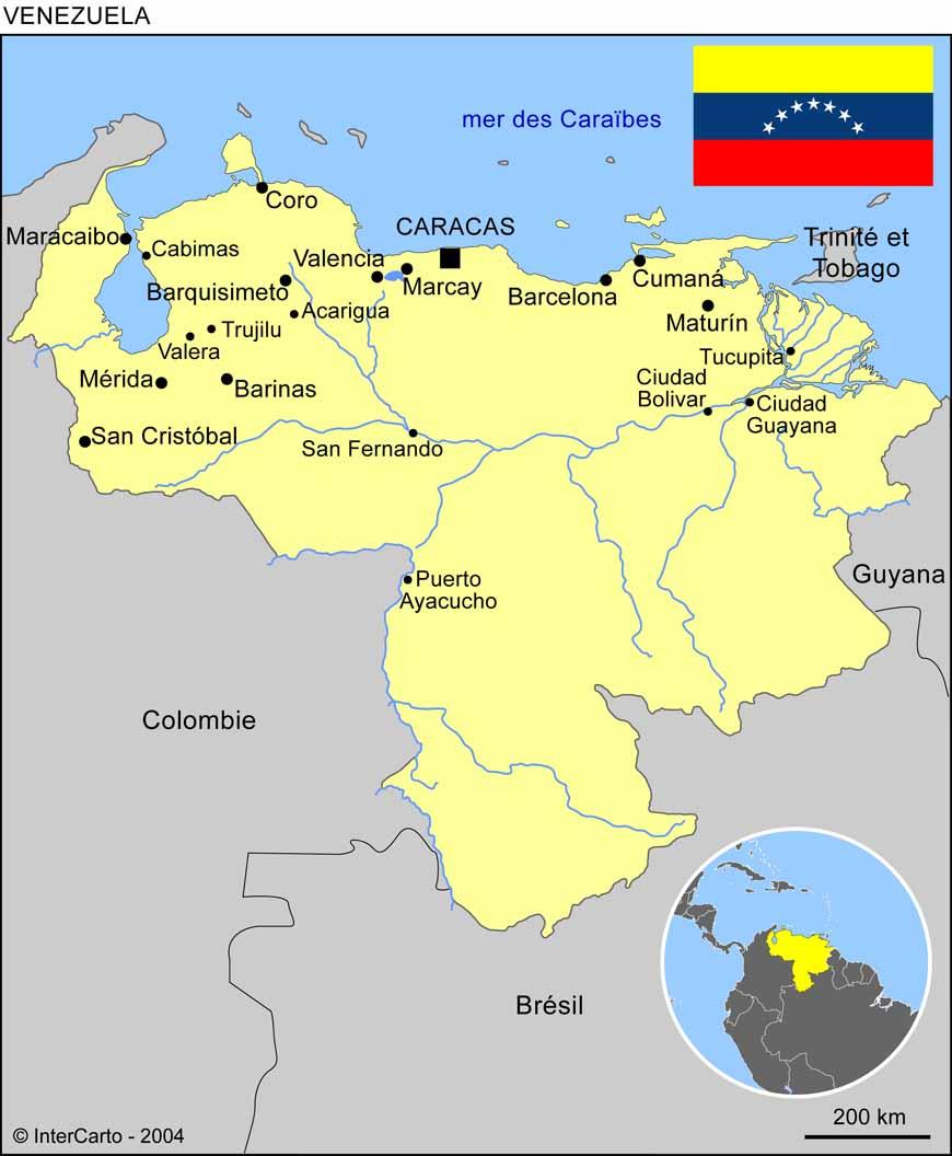 Carte géographique et touristique du Venezuela, Caracas