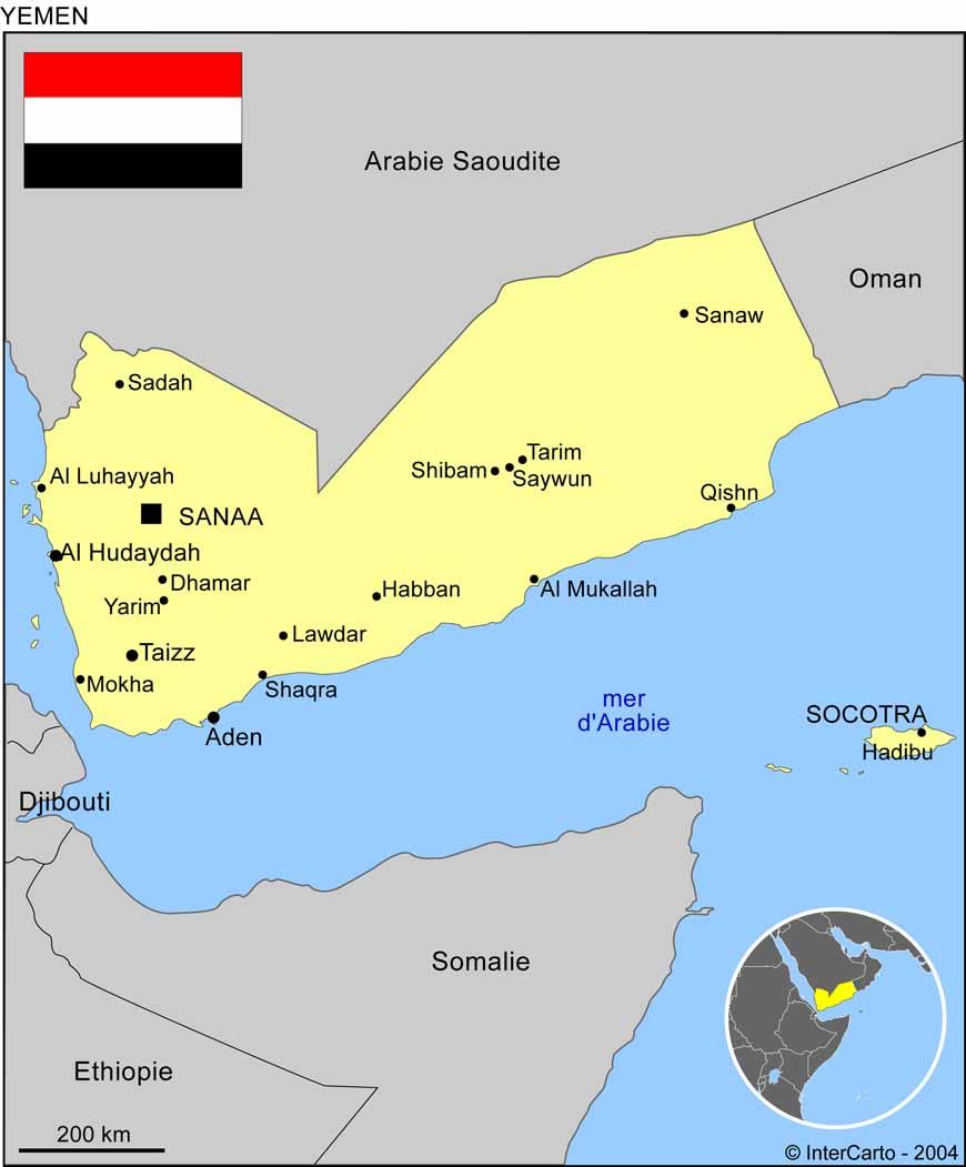 Carte géographique et touristique du Yémen, Sanaa. Géographie du Yémen